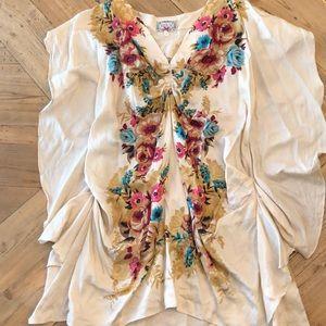 Anthropologie Baraschi Silk boho floral shirt